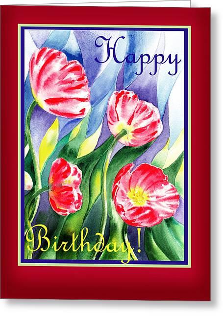 Landscape. Scenic Greeting Cards - Happy Birthday Pink Poppies Greeting Card by Irina Sztukowski
