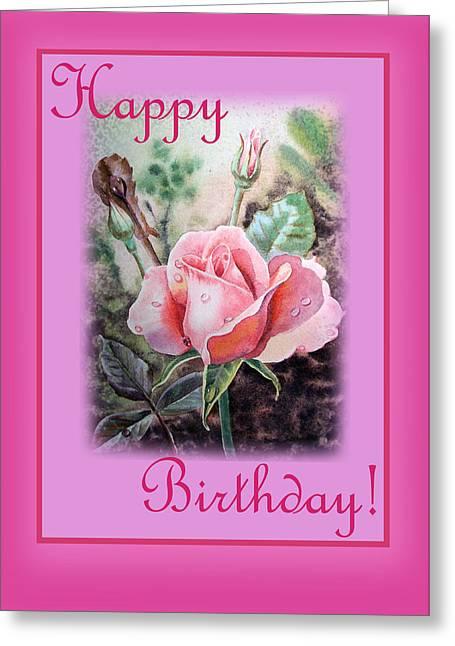 Landscape. Scenic Greeting Cards - Happy Birthday Pink Rose  Greeting Card by Irina Sztukowski