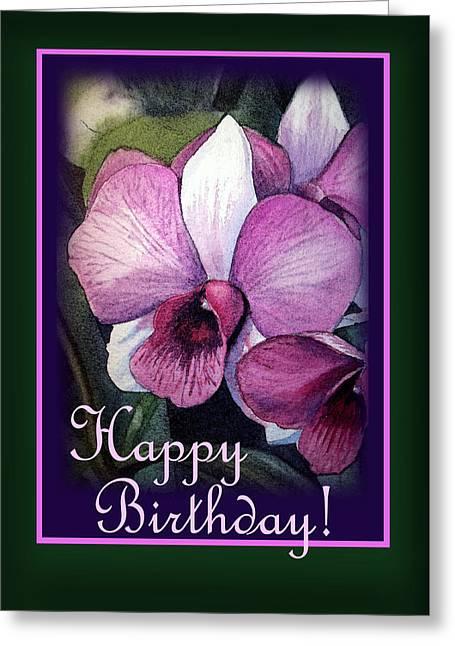 Landscape. Scenic Greeting Cards - Happy Birthday Purple Orchid Greeting Card by Irina Sztukowski