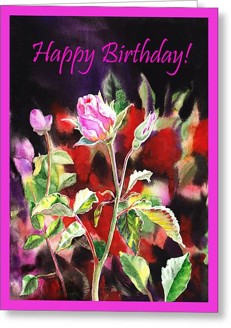 Landscape. Scenic Greeting Cards - Happy Birthday Rose Greeting Card by Irina Sztukowski