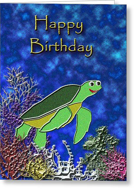 Wildlife Celebration Mixed Media Greeting Cards - Happy Birthday Sea Turtle Greeting Card by Jeanette K