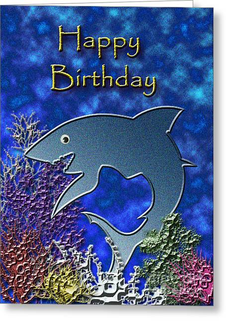 Wildlife Celebration Greeting Cards - Happy Birthday Shark Greeting Card by Jeanette K