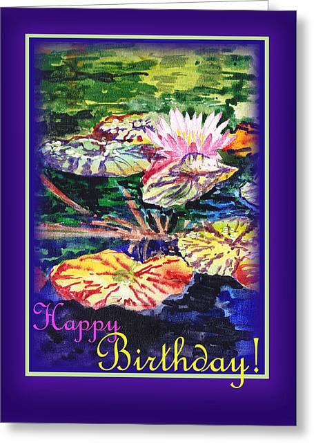 S Lily Greeting Cards - Happy Birthday Water Lilies  Greeting Card by Irina Sztukowski