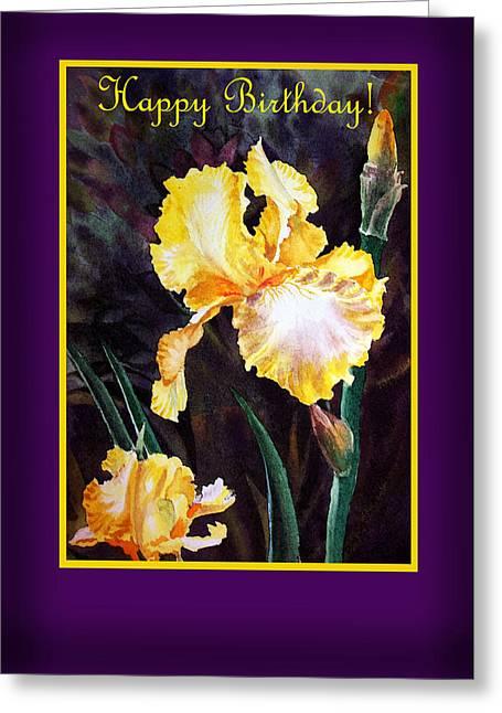 Landscape. Scenic Greeting Cards - Happy Birthday Yellow Iris Design Greeting Card by Irina Sztukowski