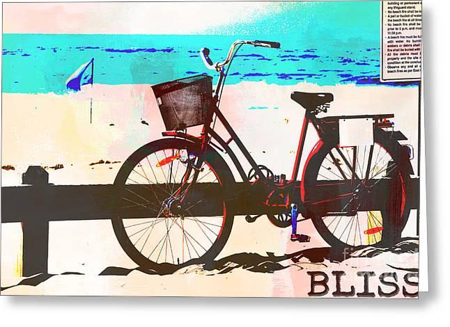Good Karma Greeting Cards - Happy Bliss Bike Greeting Card by Adsice Studios