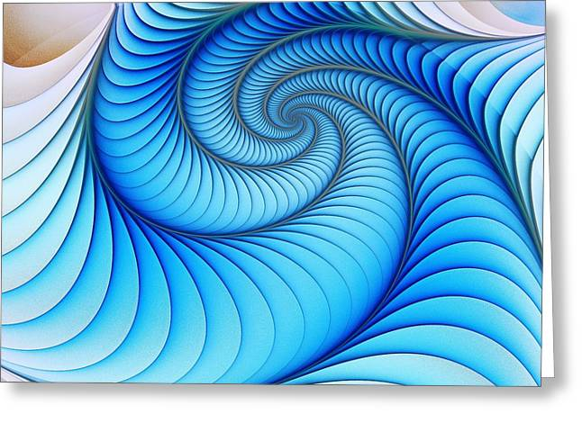 Spiral Staircase Mixed Media Greeting Cards - Happy Blue Greeting Card by Anastasiya Malakhova