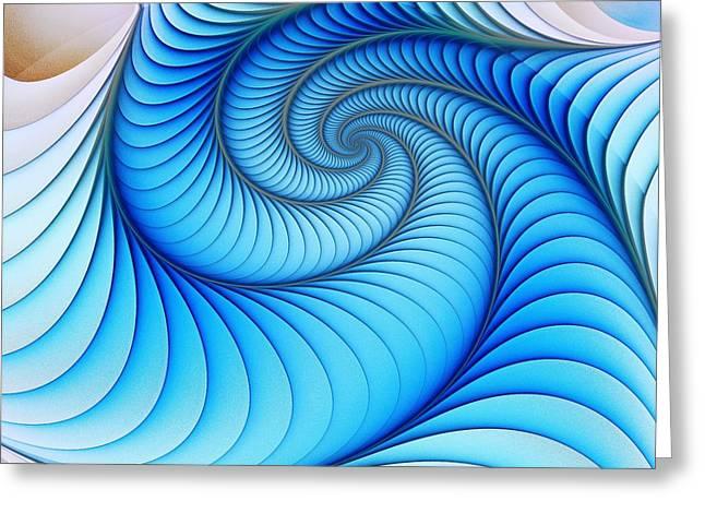 Spiral Staircase Mixed Media Greeting Cards - Happy Blue Greeting Card by Anastasiya Malakhova