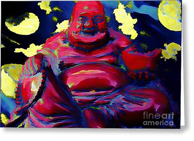 Halifax Art Galleries Greeting Cards - Happy Budda Greeting Card by John Malone