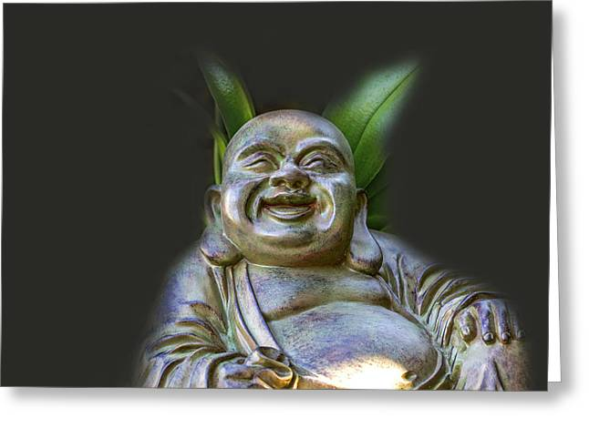 Big Belly Greeting Cards - Happy Buddha 2 Greeting Card by Calazones Flics