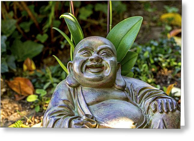 Big Belly Greeting Cards - Happy Buddha Greeting Card by Calazones Flics