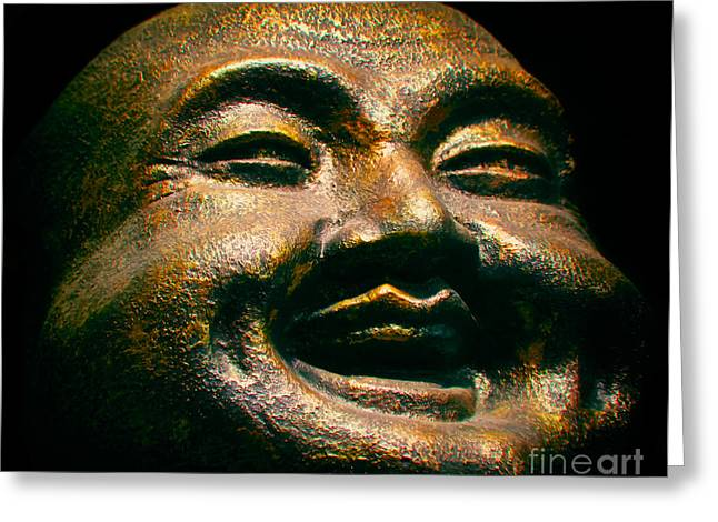 Statue Portrait Photographs Greeting Cards - Happy Buddha Greeting Card by Mark Miller