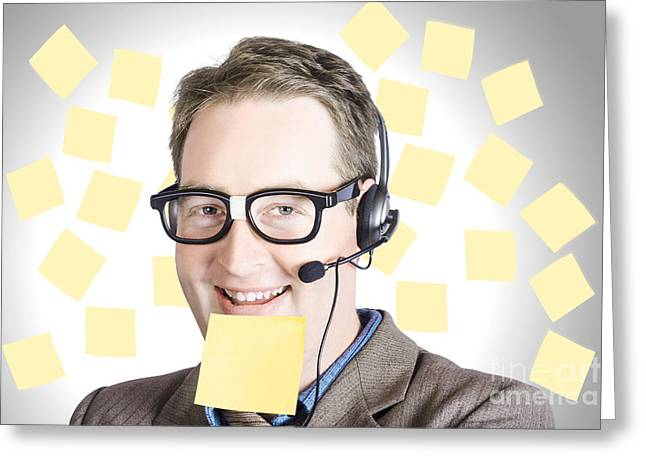 Headset Greeting Cards - Happy business man wearing helpdesk headset Greeting Card by Ryan Jorgensen