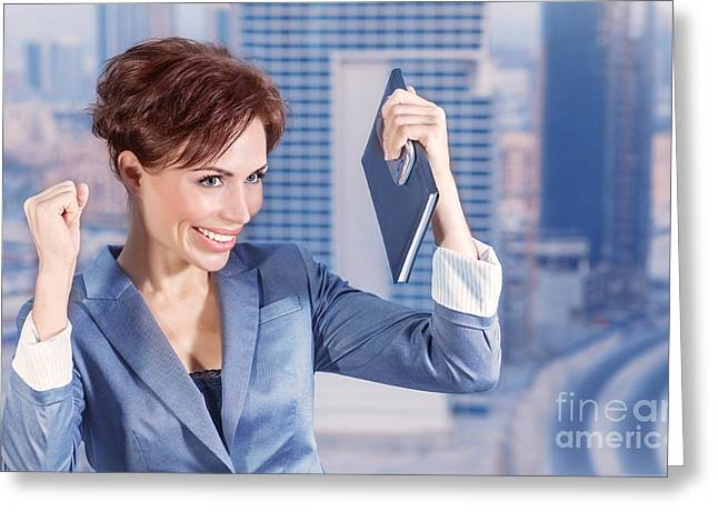 Businesspeople Greeting Cards - Happy business woman Greeting Card by Anna Omelchenko