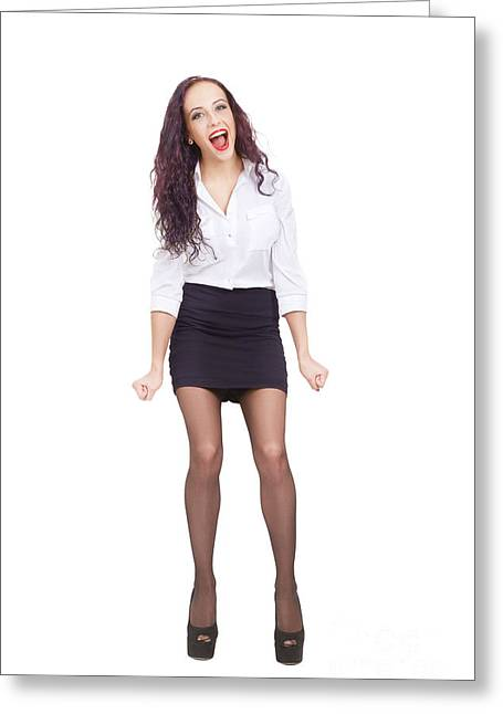 Business Woman Greeting Cards - Happy Business Woman Isolated Greeting Card by Aleksey Tugolukov