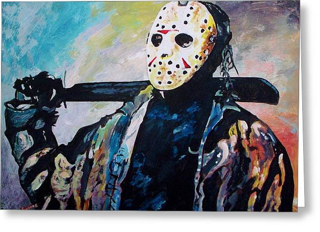 Jason Voorhees Greeting Cards - Happy Camper Greeting Card by Jeremy Moore