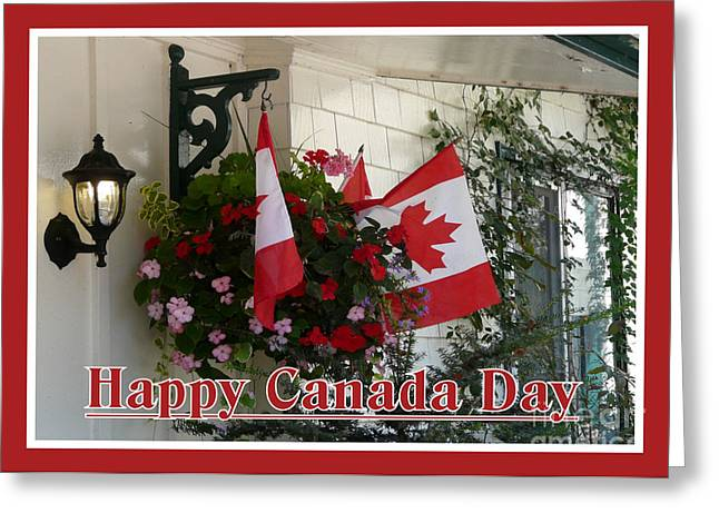 Happy Canada Day Floral Greeting Card by Avis  Noelle