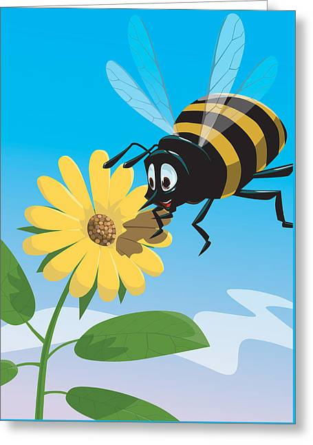 Happy Cartoon Bee With Yellow Flower Greeting Card by Martin Davey