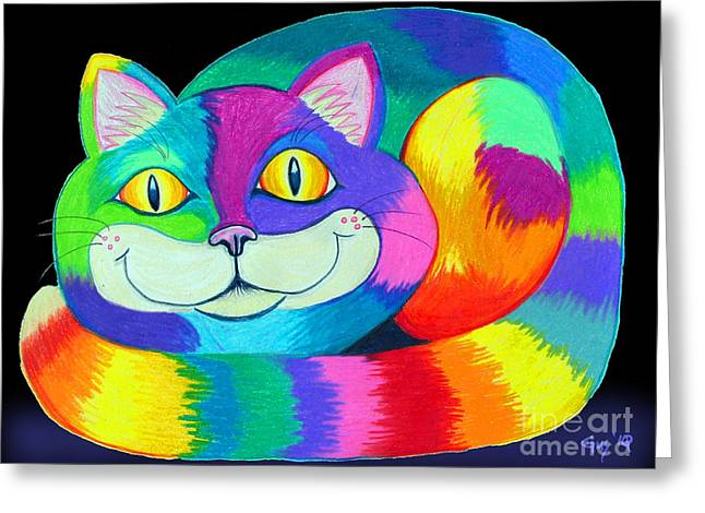 Cat Drawings Greeting Cards - Happy Cat dark back ground Greeting Card by Nick Gustafson
