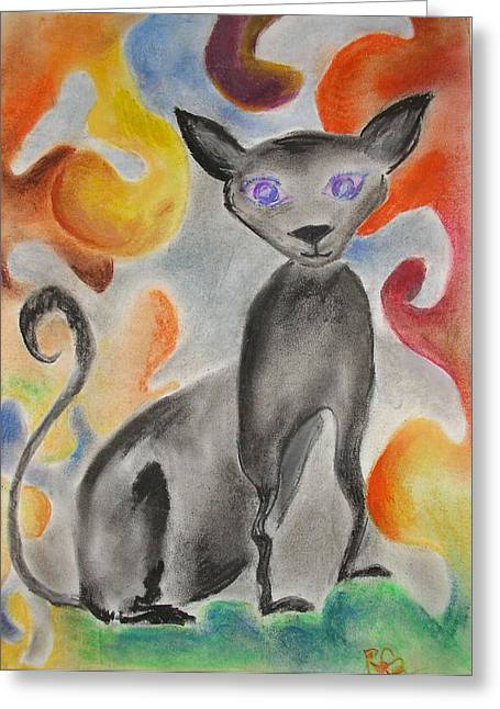 Happy Pastels Greeting Cards - Happy cat Greeting Card by Rosa Garcia Sanchez