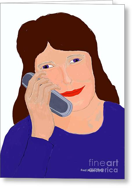 Cellphone Greeting Cards - Happy Cell Phone Girl Greeting Card by Fred Jinkins