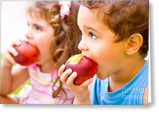 Kid Eating Snack Greeting Cards - Happy children eating apple Greeting Card by Anna Omelchenko
