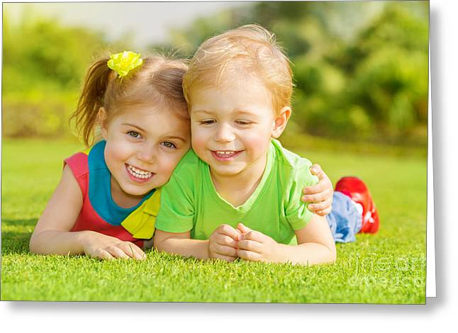 Baby Sister Greeting Cards - Happy children in park Greeting Card by Anna Omelchenko