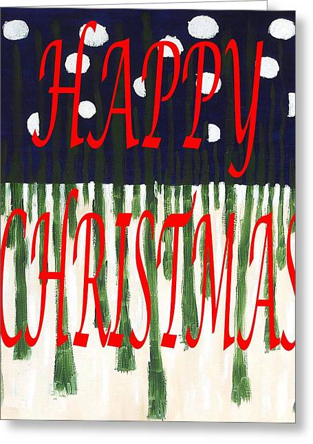 Snow Tree Prints Mixed Media Greeting Cards - Happy Christmas 110 Greeting Card by Patrick J Murphy