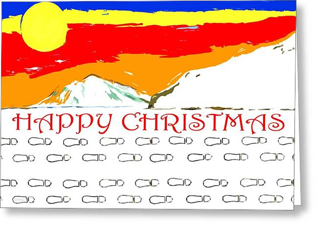 Snow Tree Prints Mixed Media Greeting Cards - Happy Christmas 111 Greeting Card by Patrick J Murphy