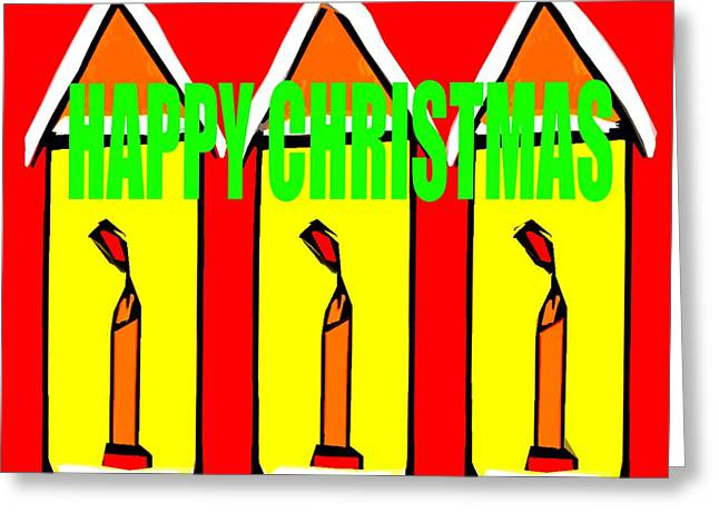 Cute Mixed Media Greeting Cards - Happy Christmas 114 Greeting Card by Patrick J Murphy