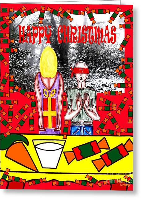 Jesus Mixed Media Greeting Cards - Happy Christmas 19 Greeting Card by Patrick J Murphy