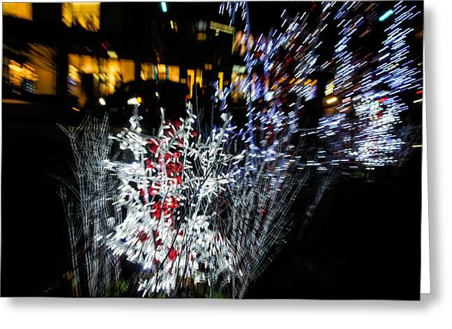 Night Lamp Greeting Cards - Happy Christmas Burst - Abstract Christmas Lights Series Greeting Card by Georgia Mizuleva