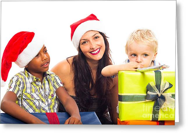 Biracial Greeting Cards - Happy Christmas family Greeting Card by Jan Mika