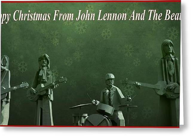 Live Music Greeting Cards - Happy Christmas From John Lennon Greeting Card by Dan Sproul