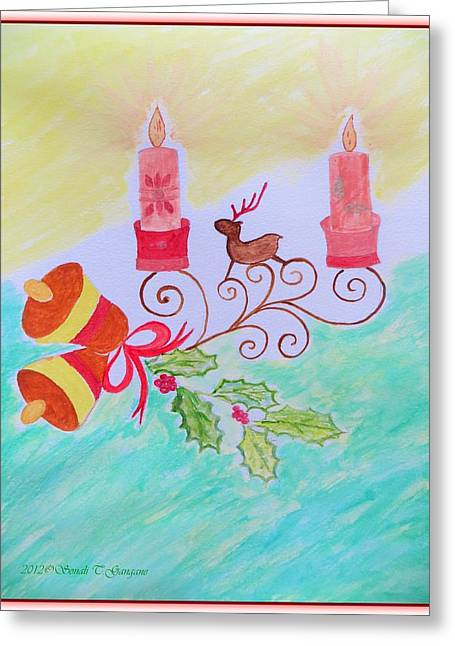 Rudolph Paintings Greeting Cards - Happy Christmas Greeting Card by Sonali Gangane