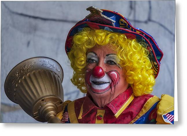 Apple Art Greeting Cards - Happy Clown Greeting Card by Susan Candelario