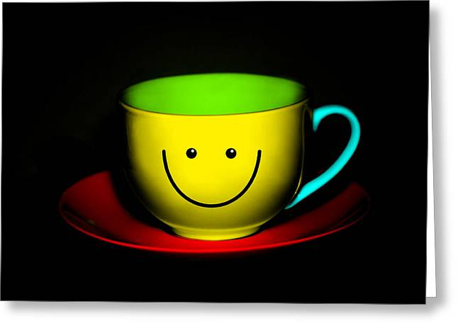 Quirky Greeting Cards - Happy Colorful Cup and Saucer Greeting Card by Natalie Kinnear