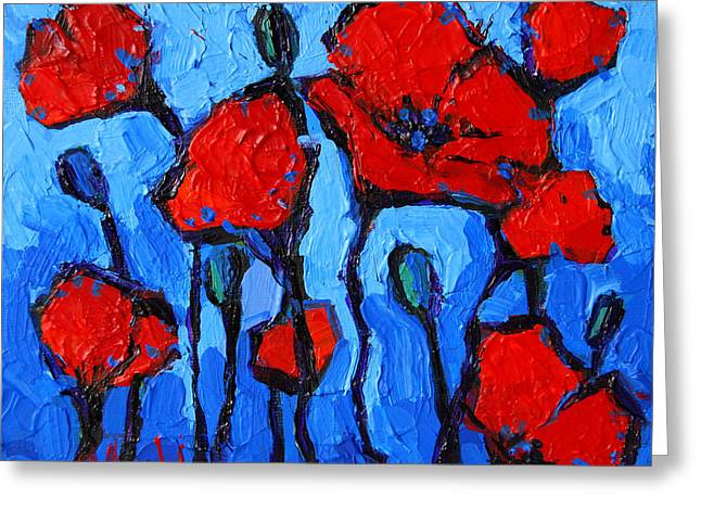 Happy Coquelicots Greeting Card by Mona Edulesco