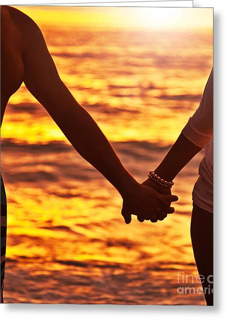 Holden Beach Greeting Cards - Happy couple holding hands  Greeting Card by Anna Omelchenko