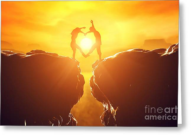 Happy Couple Greeting Cards - Happy couple in love making heart shape Greeting Card by Michal Bednarek