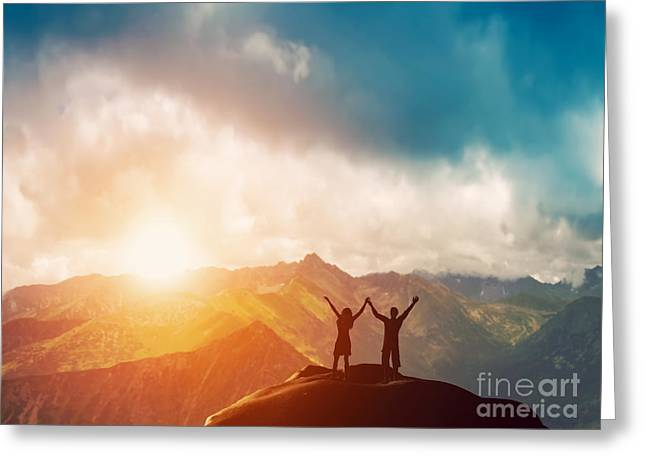 Happy Couple Greeting Cards - Happy couple on the peak of the mountain Greeting Card by Michal Bednarek