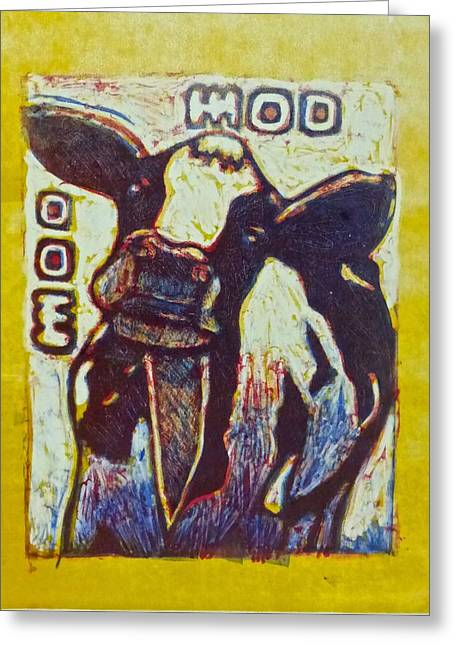 Talking Animals Mixed Media Greeting Cards - Happy cow Greeting Card by Walt Maes