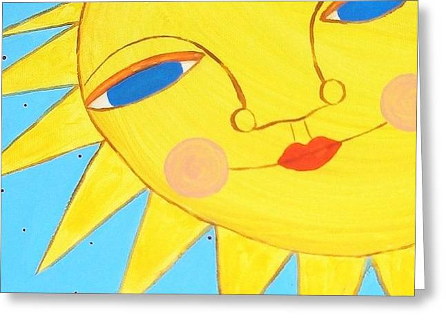 Outsider Art Greeting Cards - Happy Day Sunshine Greeting Card by Micki Rongve