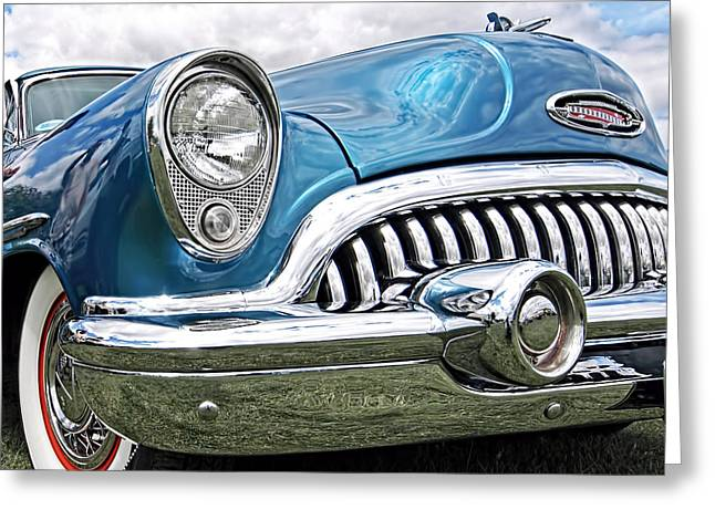 Blue Buick Greeting Cards - Happy Days - 53 Buick Riviera Greeting Card by Gill Billington