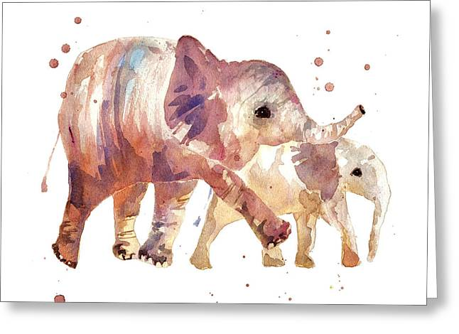 Nursery Decor Greeting Cards - Happy Days Elephants Greeting Card by Alison Fennell