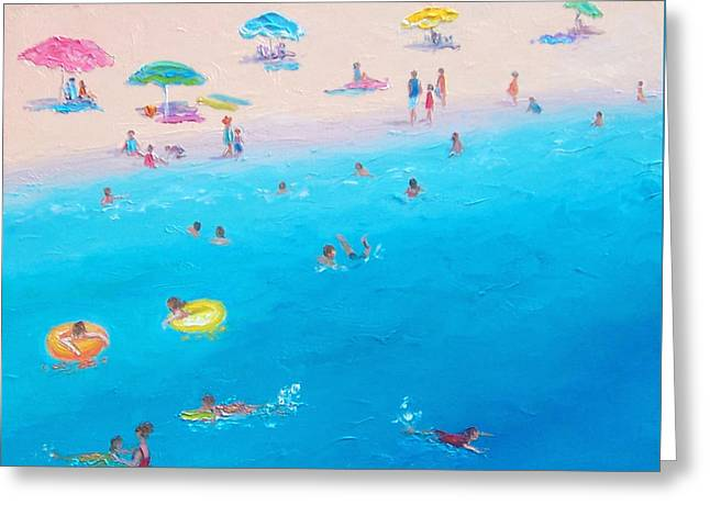 People At The Beach Greeting Cards - Happy Days at the seaside Greeting Card by Jan Matson