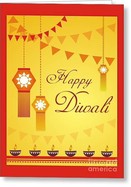 Marigold Festival Greeting Cards - Happy Diwali English Greeting Card by Prajakta P