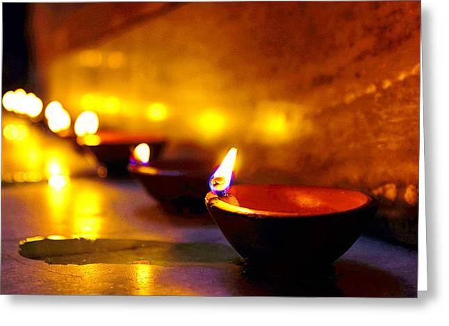 Oil Lamp Photographs Greeting Cards - Happy Diwali Greeting Card by Prakash Ghai