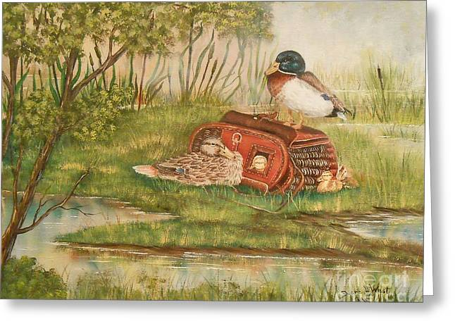 Baby Mallards Paintings Greeting Cards - Happy Duck Family Greeting Card by Duane West