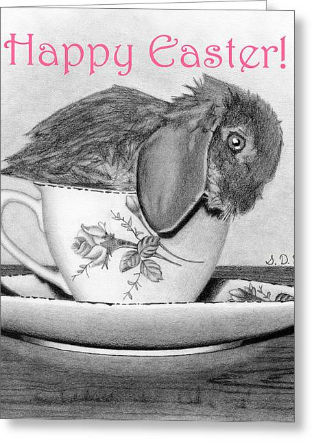 Hyper-realism Greeting Cards - Happy Easter 2- Bunny In A Teacup Greeting Card by Sarah Batalka
