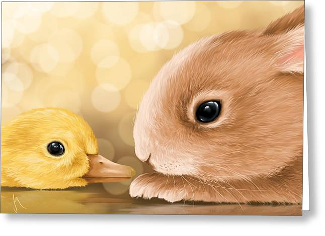 Kids Books Paintings Greeting Cards - Happy Easter 2014 Greeting Card by Veronica Minozzi